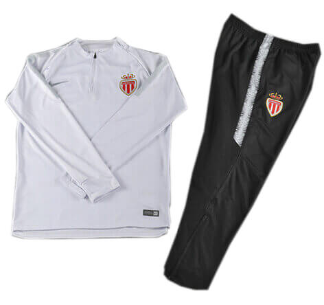 Training Top+Pantalon Monaco Blanc Noir 2018 2019