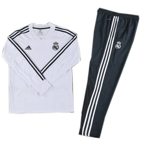 Training Top+Pantalon Real Madrid Blanc Noir 2018 2019
